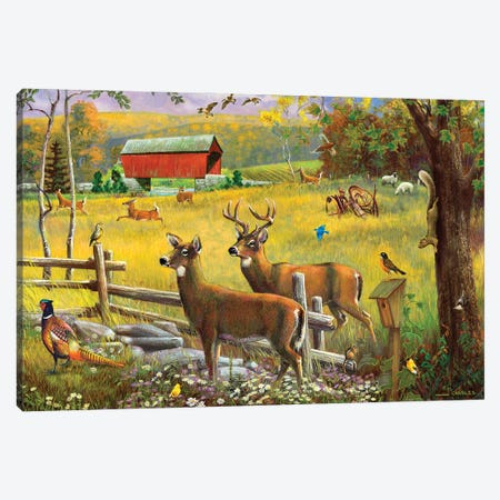 Deer And Covered Bridge Canvas Print #GRC101} by J. Charles Canvas Wall Art