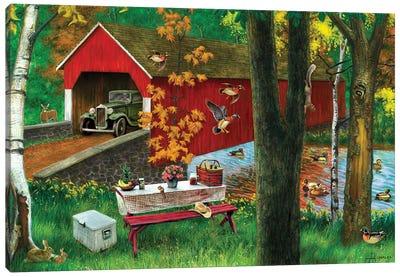 River And Covered Bridge Canvas Art Print