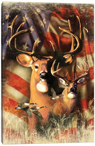 Shadow Beasts Deer And Flag Canvas Art Print