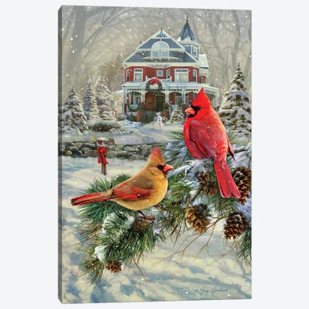 Cardinals And House Canvas Print #GRC11} by Greg & Company Canvas Art Print