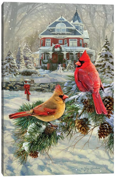 Cardinals And House Canvas Art Print