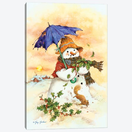 Snowman & Umbrella Canvas Print #GRC138} by Greg & Company Art Print