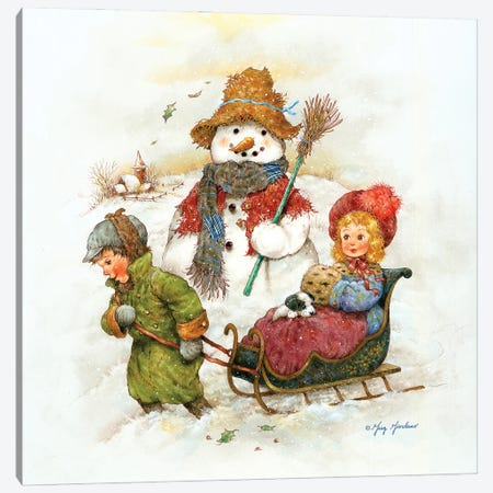 Snowman With Children Canvas Print #GRC140} by Greg & Company Canvas Wall Art