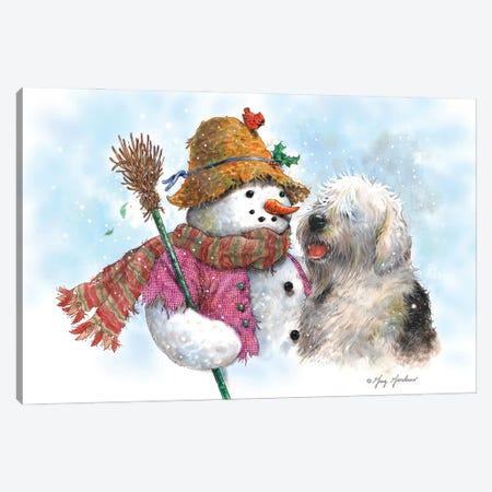 Snowman & Dog Canvas Print #GRC141} by Greg & Company Canvas Art