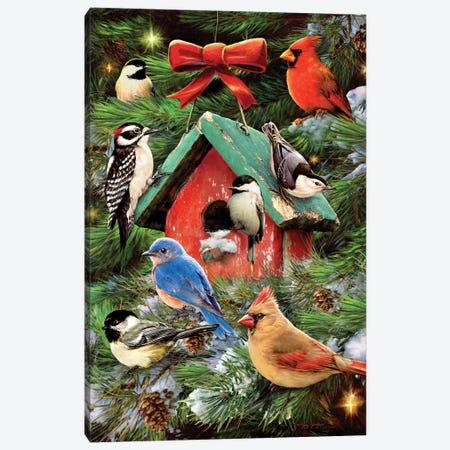 Christmas Bird House & Pines Canvas Print #GRC14} by Greg & Company Canvas Art