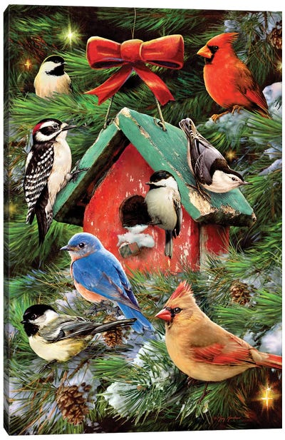 Christmas Bird House & Pines Canvas Art Print