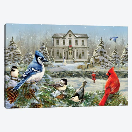Christmas Birds And House Canvas Print #GRC15} by Greg & Company Canvas Wall Art
