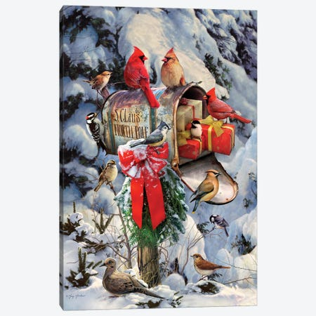 Christmas Birds At Mailbox Canvas Print #GRC16} by Greg & Company Canvas Wall Art