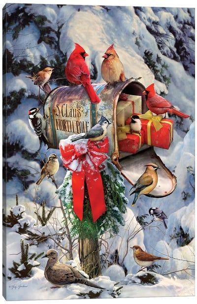 Christmas Birds At Mailbox Canvas Art Print