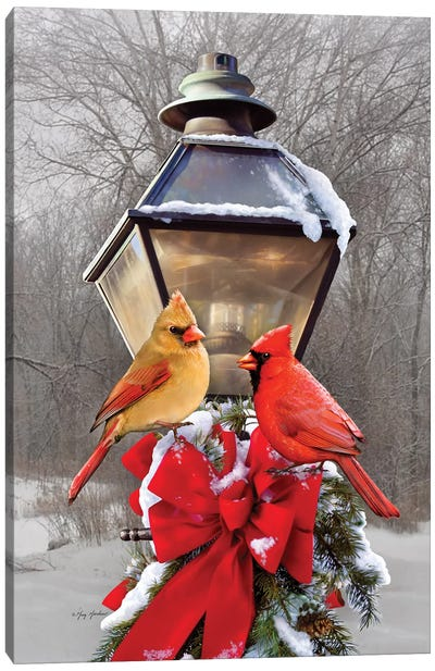Christmas Cardinals Canvas Art Print