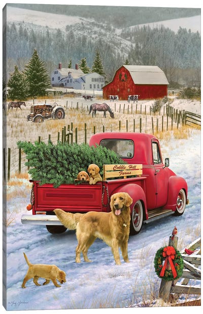 Christmas On The Farm Canvas Art Print