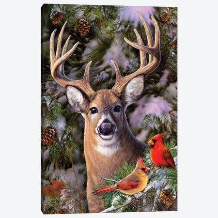 Deer & Cardinals Canvas Print #GRC20} by Greg & Company Canvas Artwork