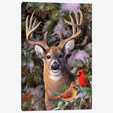 Deer & Cardinals Canvas Print #GRC20} by Greg & Company Canvas Artwork
