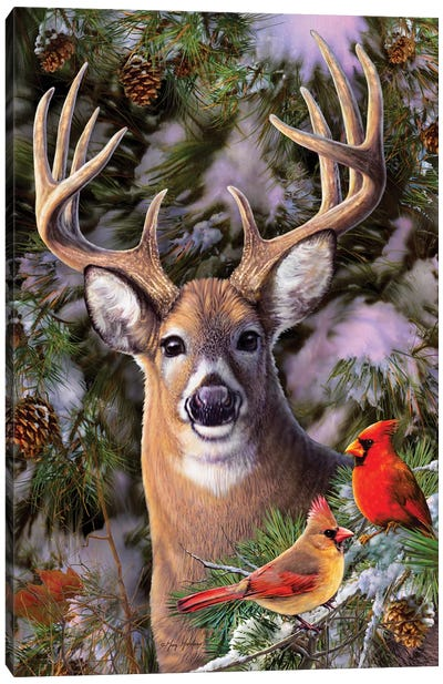 Deer & Cardinals Canvas Art Print