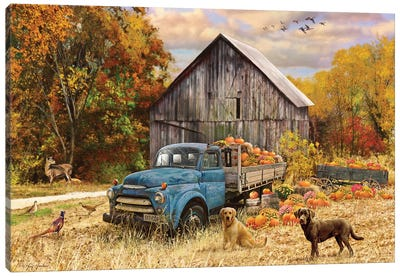 Fall Truck And Barn Canvas Art Print