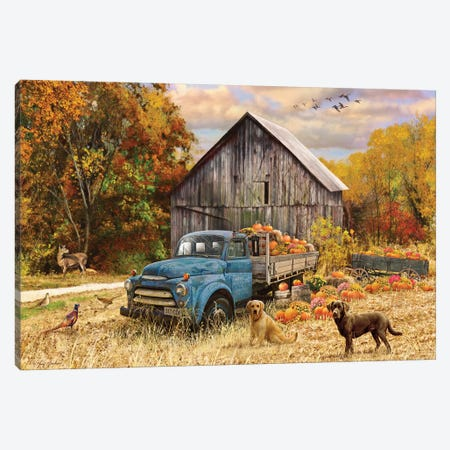 Fall Truck And Barn Canvas Print #GRC22} by Greg & Company Canvas Wall Art