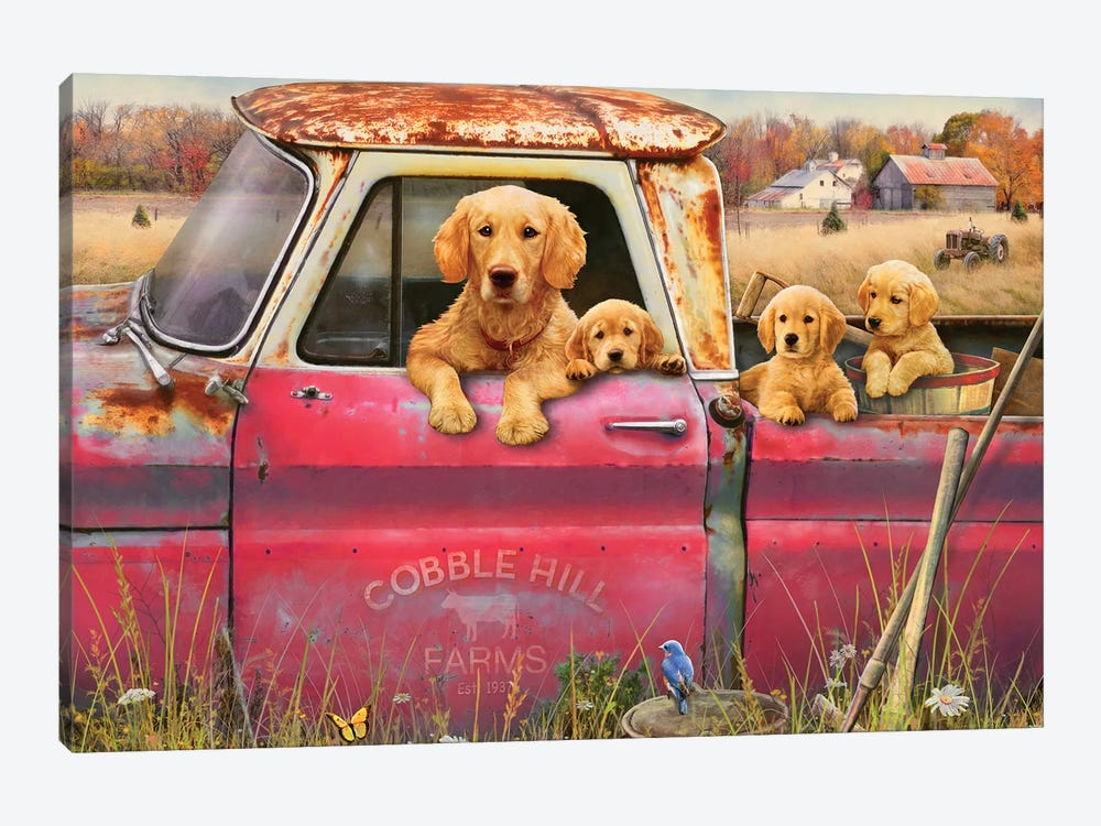Goldens And Truck by Greg & Company 1-piece Canvas Art Print