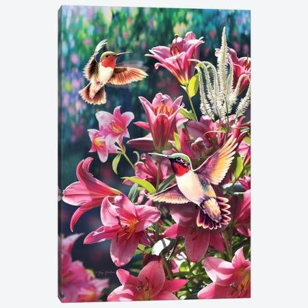 Hummingbird & Lilies Canvas Print #GRC28} by Greg & Company Canvas Artwork