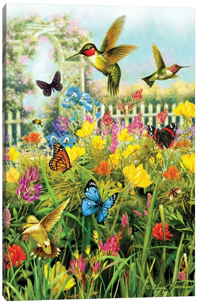 Hummingbirds & Arbor Canvas Art Print