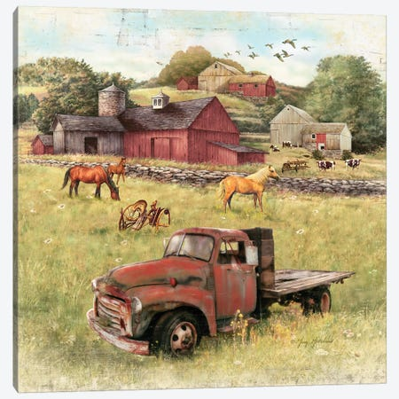 Barns And Old Truck Canvas Print #GRC2} by Greg & Company Canvas Print