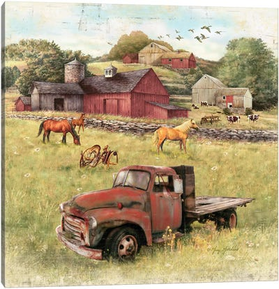 Barns And Old Truck Canvas Art Print
