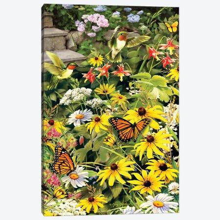 Hummingbirds At The Back Step Canvas Print #GRC30} by Greg & Company Art Print