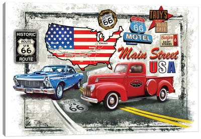 Nostalgic America Cars Canvas Art Print