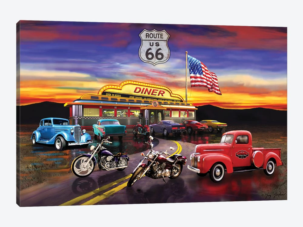 Nostalgic America Diner And Cars by Greg & Company 1-piece Canvas Art
