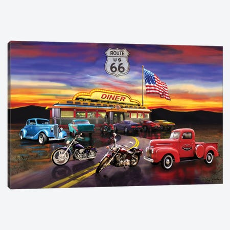 Nostalgic America Diner And Cars Canvas Print #GRC36} by Greg & Company Canvas Art