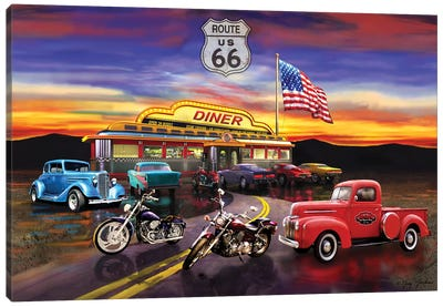 Nostalgic America Diner And Cars Canvas Art Print