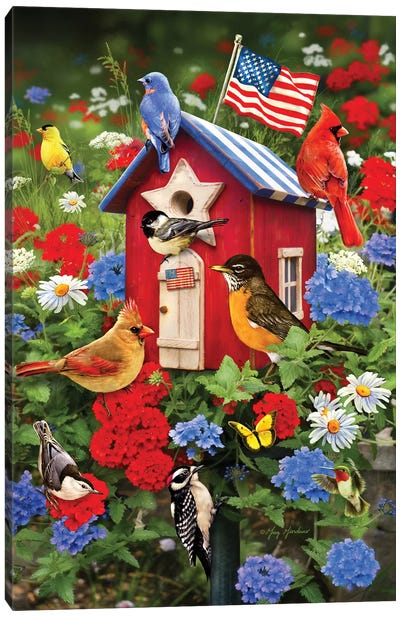 Patriotic Bird House Canvas Art Print