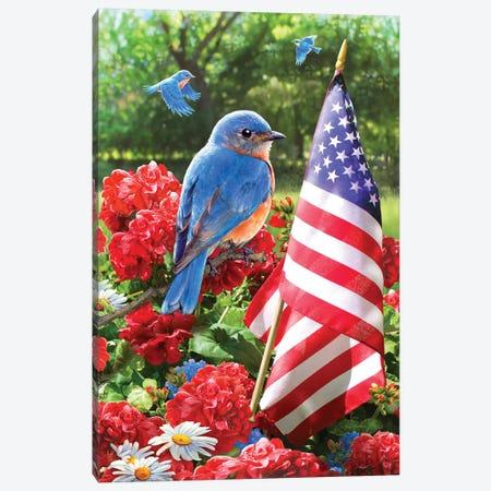 Patriotic Bluebird Canvas Print #GRC41} by Greg & Company Canvas Artwork