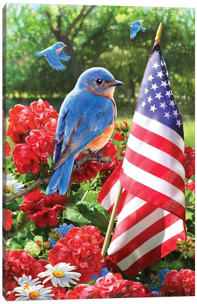 Patriotic Bluebird Canvas Art Print