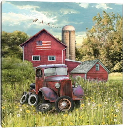 Patriotic Farm Canvas Art Print