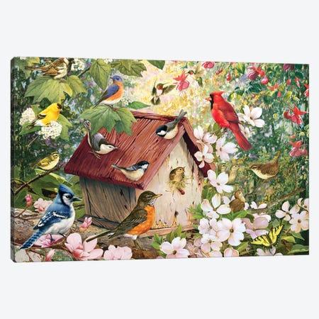 Spring Birds And Birdhouse Canvas Print #GRC44} by Greg & Company Art Print