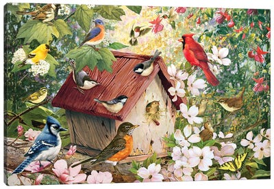 Spring Birds And Birdhouse Canvas Art Print