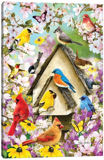 Spring Birds And Dogwood Canvas Art Print