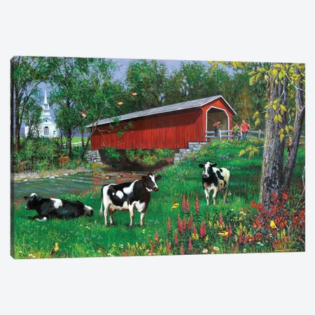 Summer Day Covered Bridge Canvas Print #GRC47} by J. Charles Canvas Print