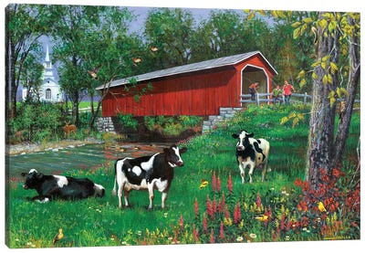 Summer Day Covered Bridge Canvas Art Print