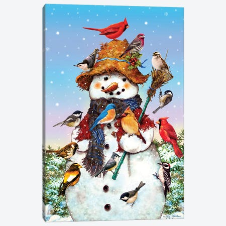 Birds And Snowman Canvas Print #GRC4} by Greg & Company Canvas Artwork