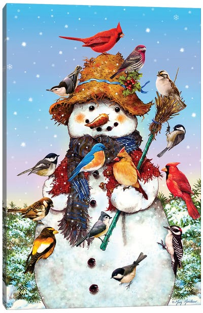 Birds And Snowman Canvas Art Print
