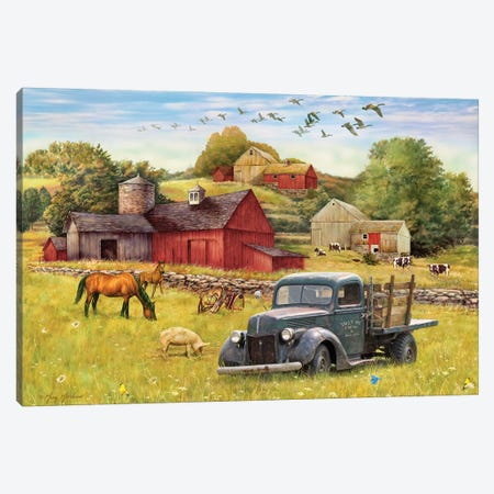Tally Ho Farms And Truck Canvas Print #GRC50} by Greg & Company Canvas Print