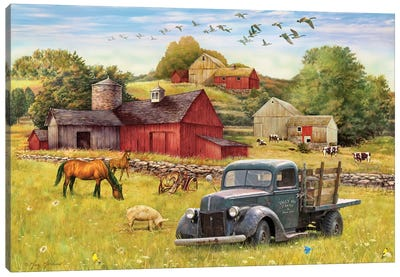 Tally Ho Farms And Truck Canvas Art Print