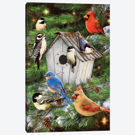 Winter Bird House & Pines Canvas Print #GRC53} by Greg & Company Canvas Print