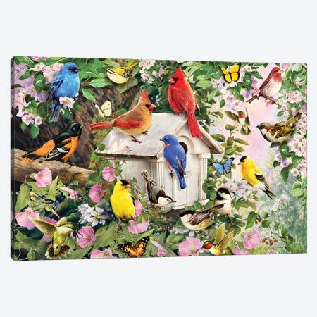 Birds At Birdhouse Canvas Print #GRC5} by Greg & Company Canvas Art