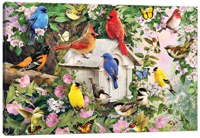 Birds At Birdhouse Canvas Art Print