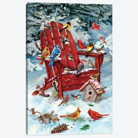 Birds On Adirondack Chair Canvas Print #GRC7} by Greg & Company Canvas Art