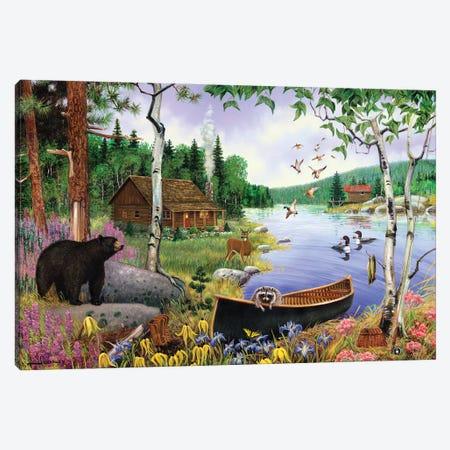 Animals At Lake Canvas Print #GRC88} by J. Charles Canvas Wall Art