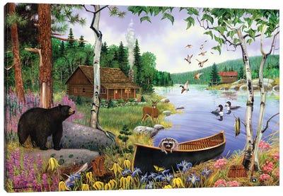 Animals At Lake Canvas Art Print