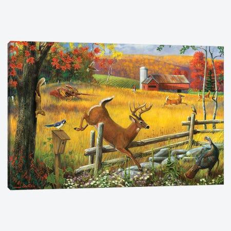 Deer Jumping Fence Canvas Print #GRC89} by J. Charles Canvas Artwork